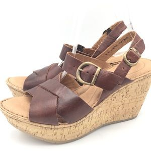 NWOB Born Leather Boho Wedge Sandals